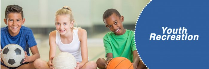 youth recreation- children with soccer ball basketball and volleyball