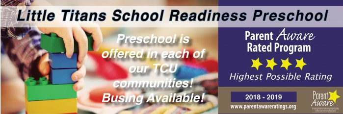 little titans school readiness preschool. preschool is offered in each of our tcu communities. bussing available. parent aware rated program highest possible rating 2018-2019. hands with blocks picture